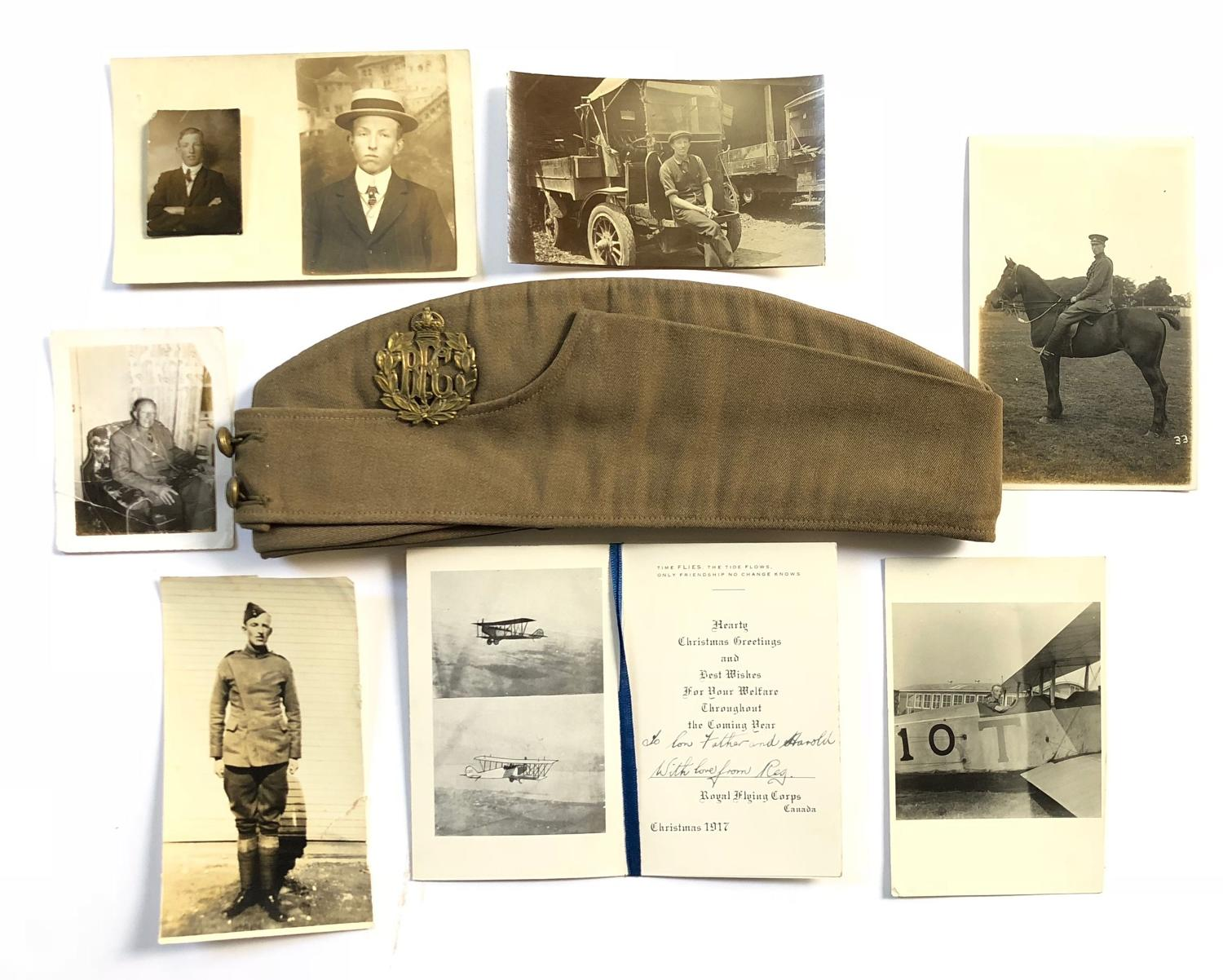 WW1 Royal Flying Corps Canada Attributed Field Service Cap & Ephemera.