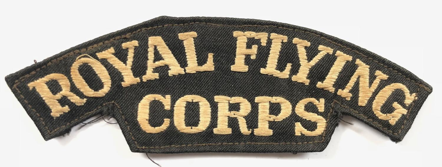 WW1 ROYAL FLYING CORPS Embroidered Canvas shoulder title.