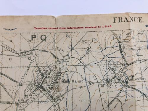 WW1 British Trench Fighting Map Corrected May 1918. in All Items