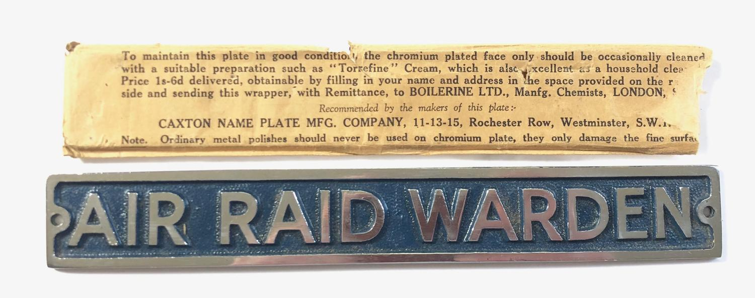 WW2 ARP Air Raid Warden Alloy Sign.