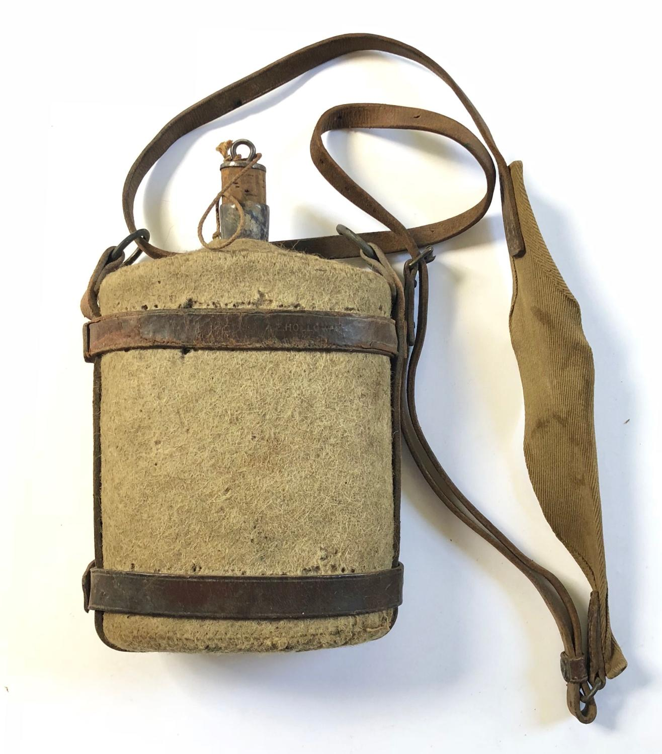 WW1 1903 Pattern Cavalry Water bottle with Leather Harness.