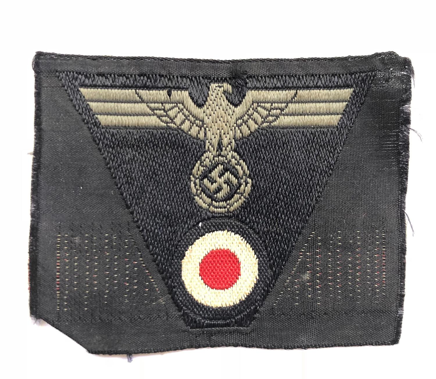 German Third Reich WW2 Panzer BeVo cloth cap badge