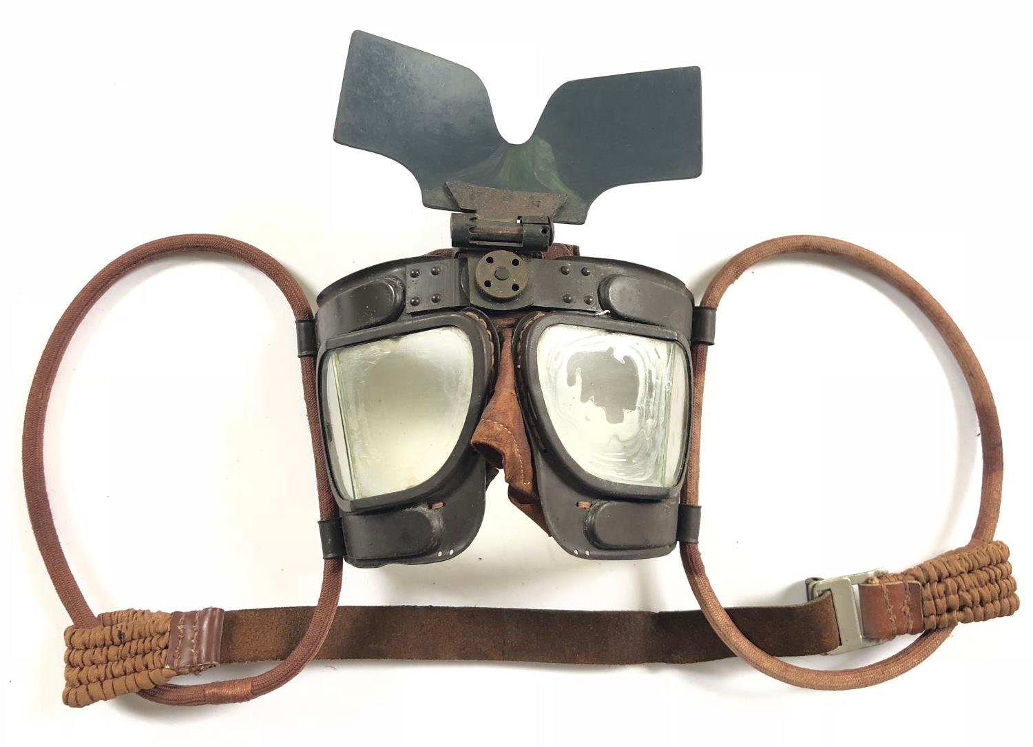 WW2 RAF MKIVB Aircrew Issue Flying Goggles with Flip Shield.