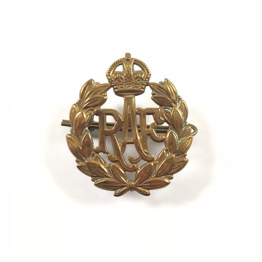 RAF King's Crown Brass Cap Badge
