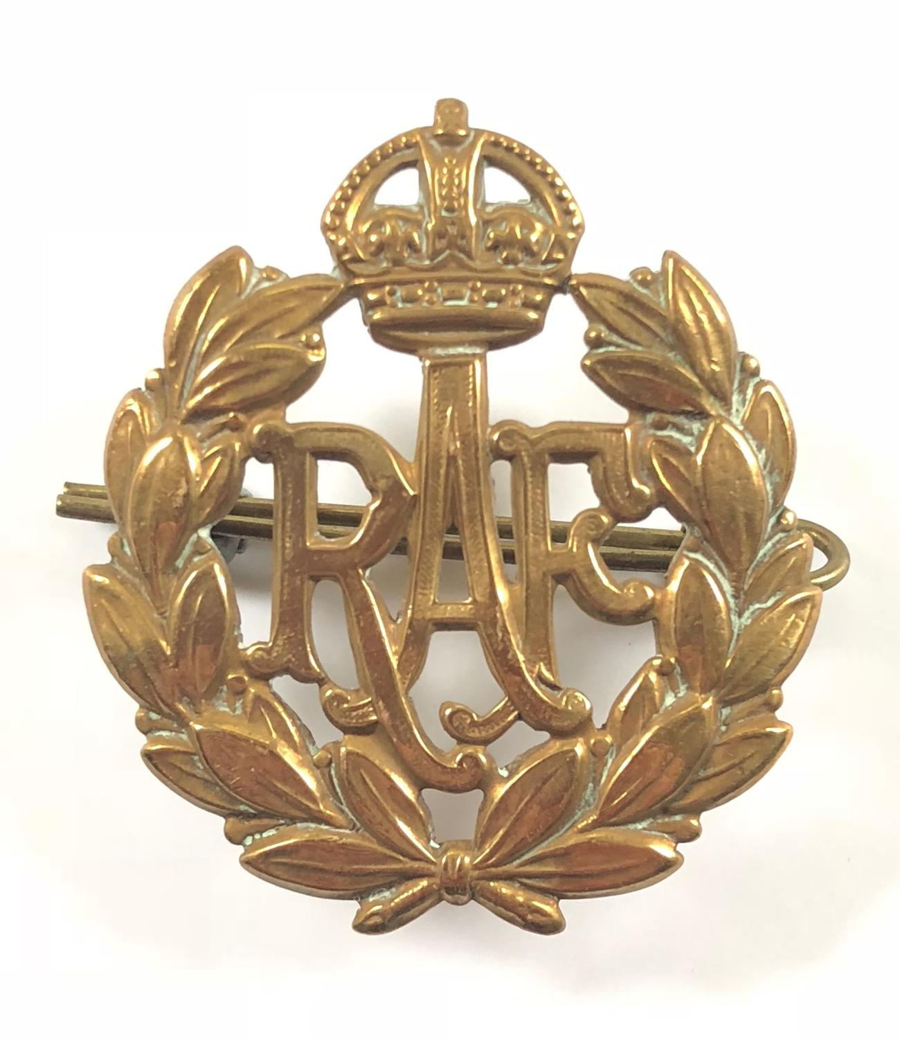RAF King's Crown Brass Cap Badge