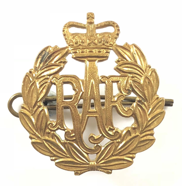 RAF King's Queen's Brass Cap Badge