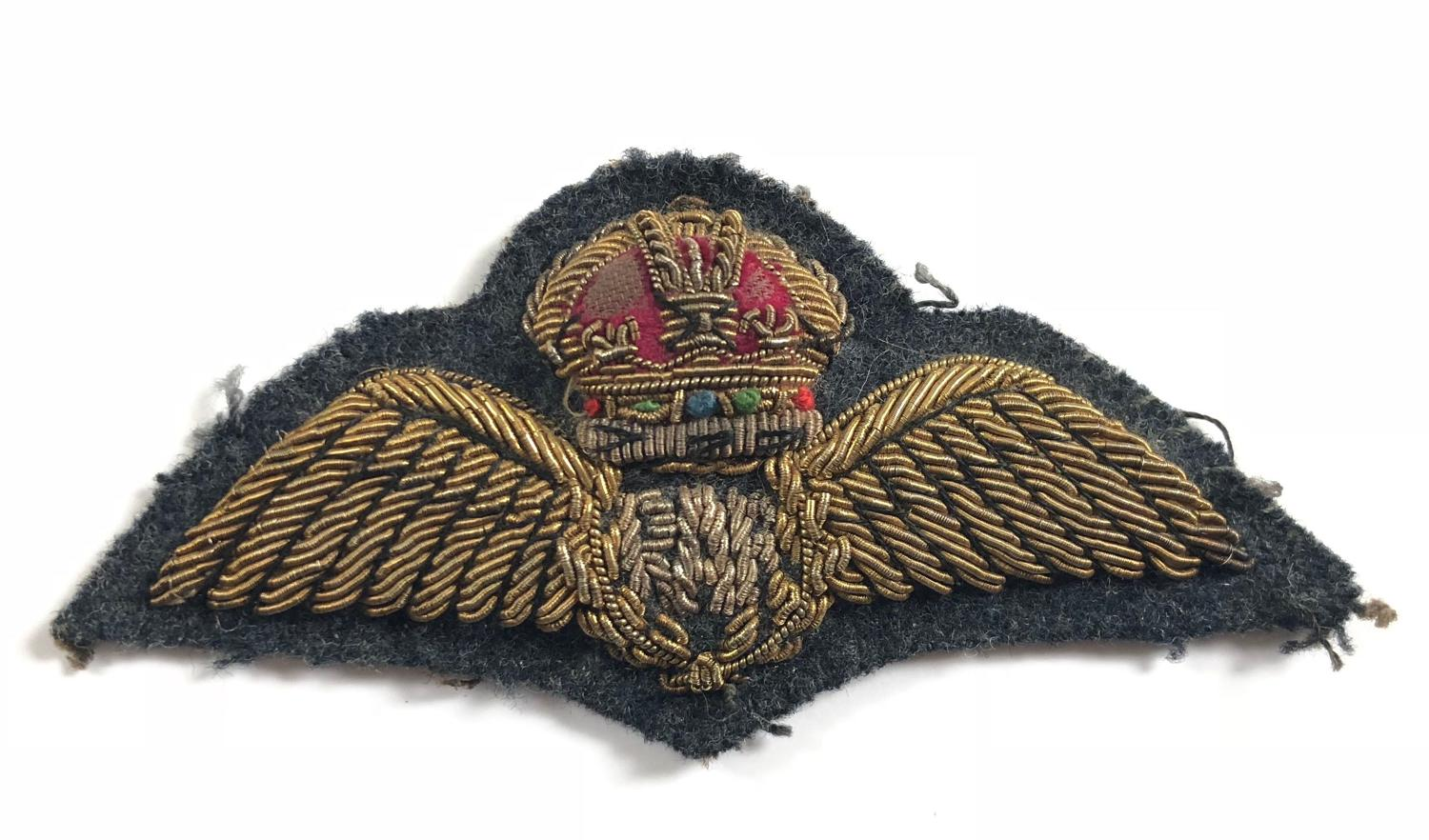 RAF 1947 Pattern Bullion Pilot Wings.