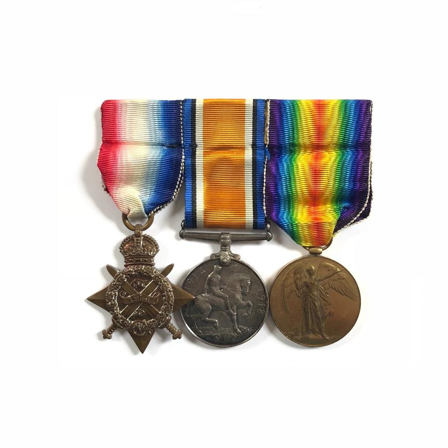 WW1 1st Bn Northumberland Fusiliers 1914 Star Casualty Group of Three