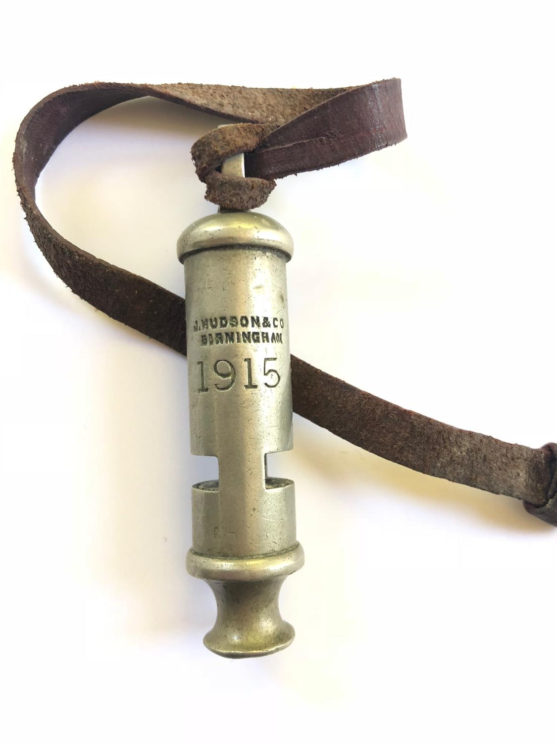 WW1 1915 British Officer's Trench Whistle & Strap.