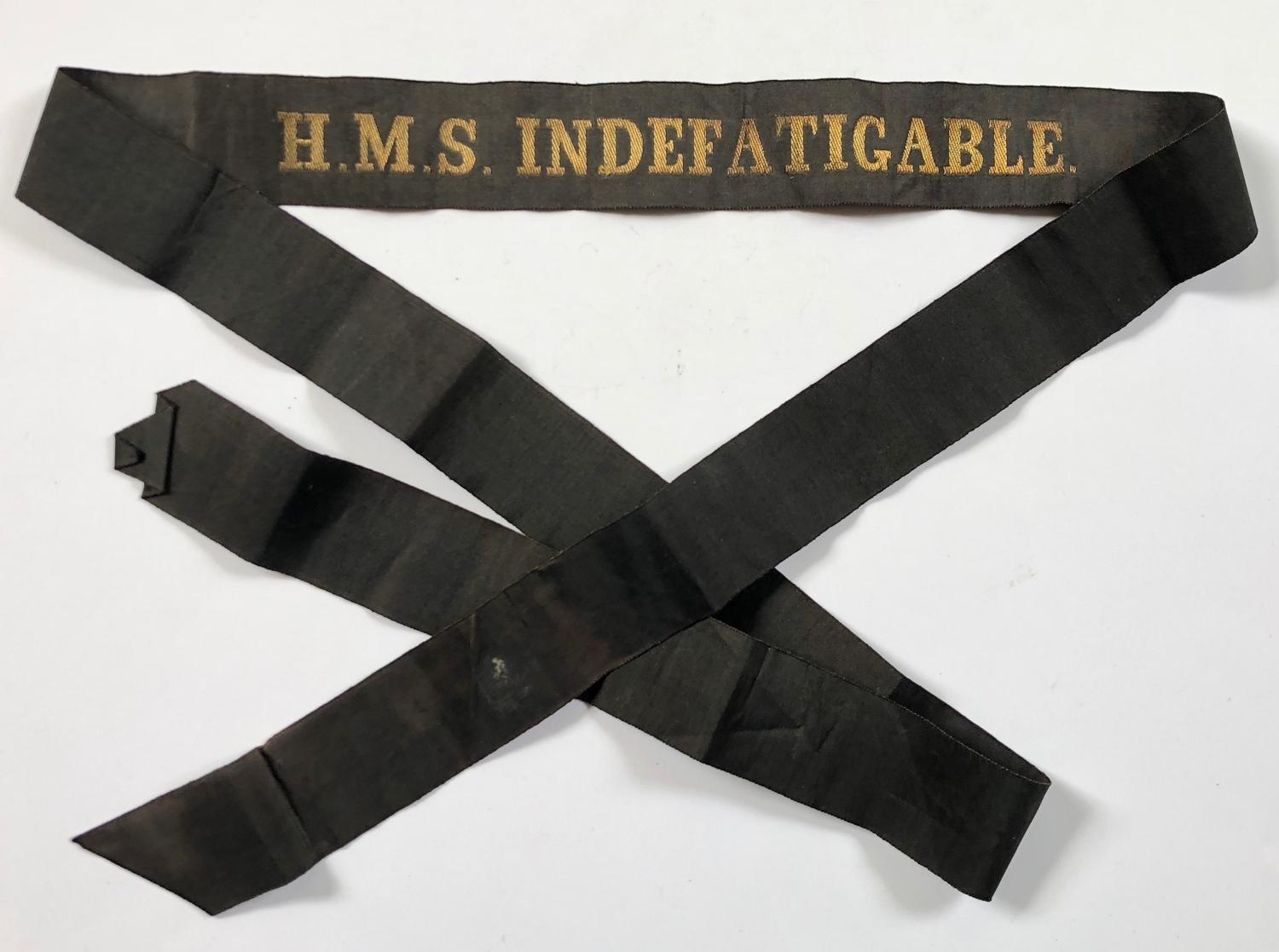 WW1 Period Royal Navy Jutland Cap Tally HMS Indefatigable