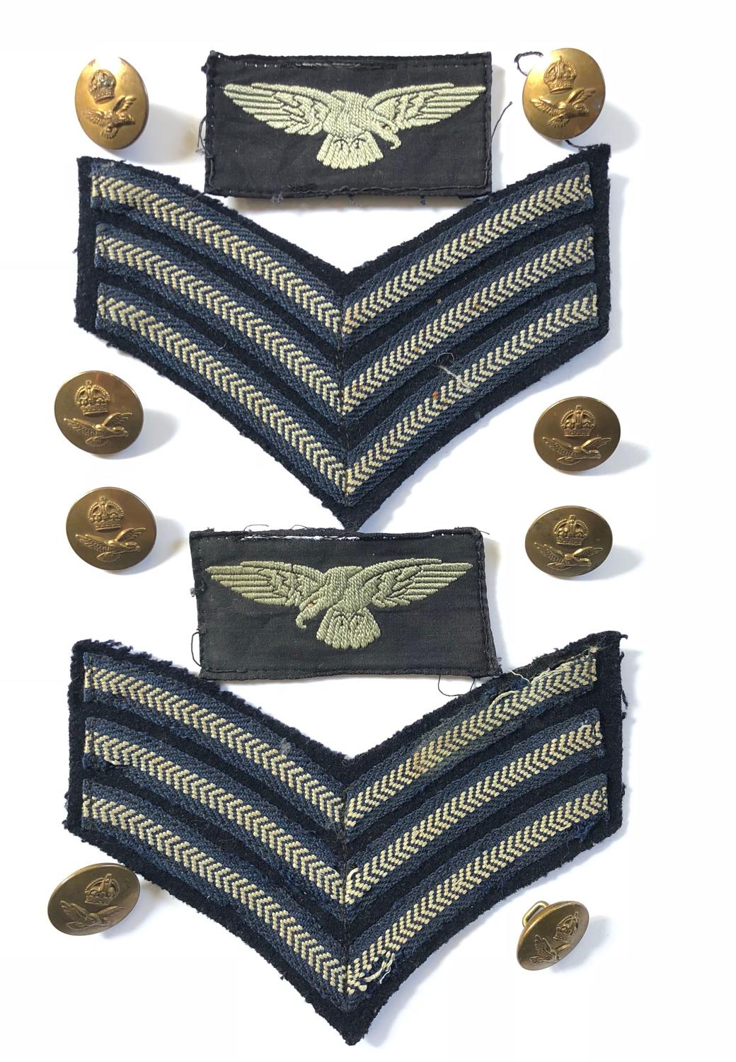 RAF WW2 Period Sergeant Uniform Badges and Buttons.