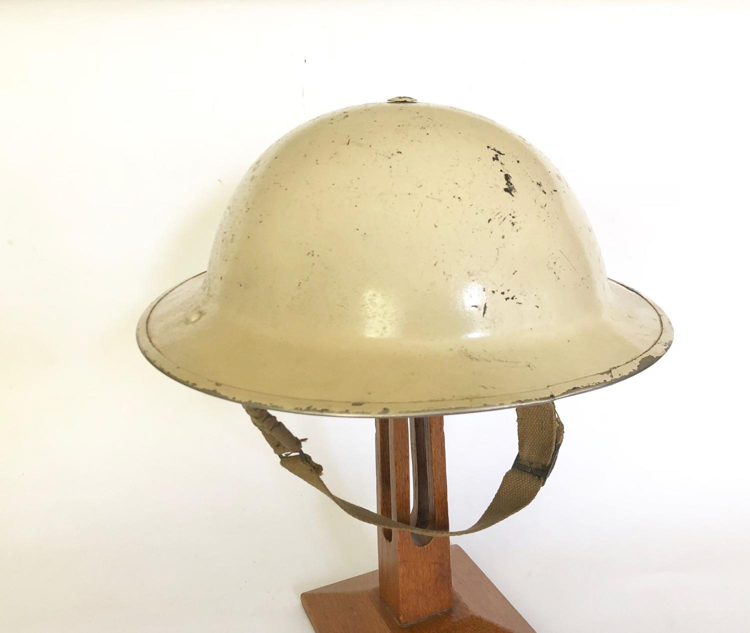 WW2 Hexham Northumberland Home Front White Civil Defence Helmet.