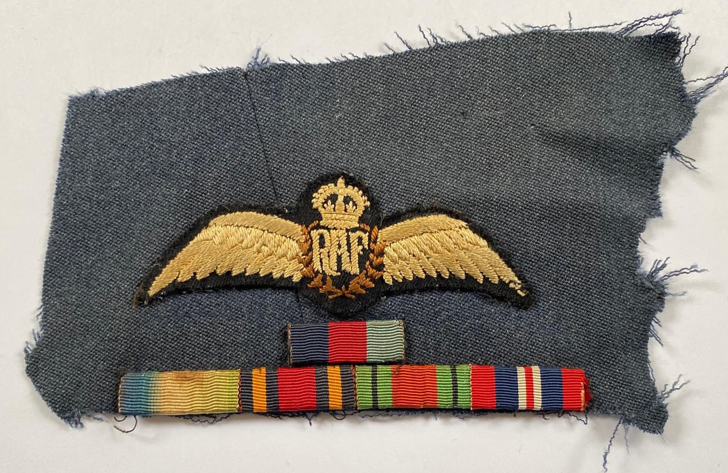 WW2 Period RAF Pilots Wings and medal ribbons.
