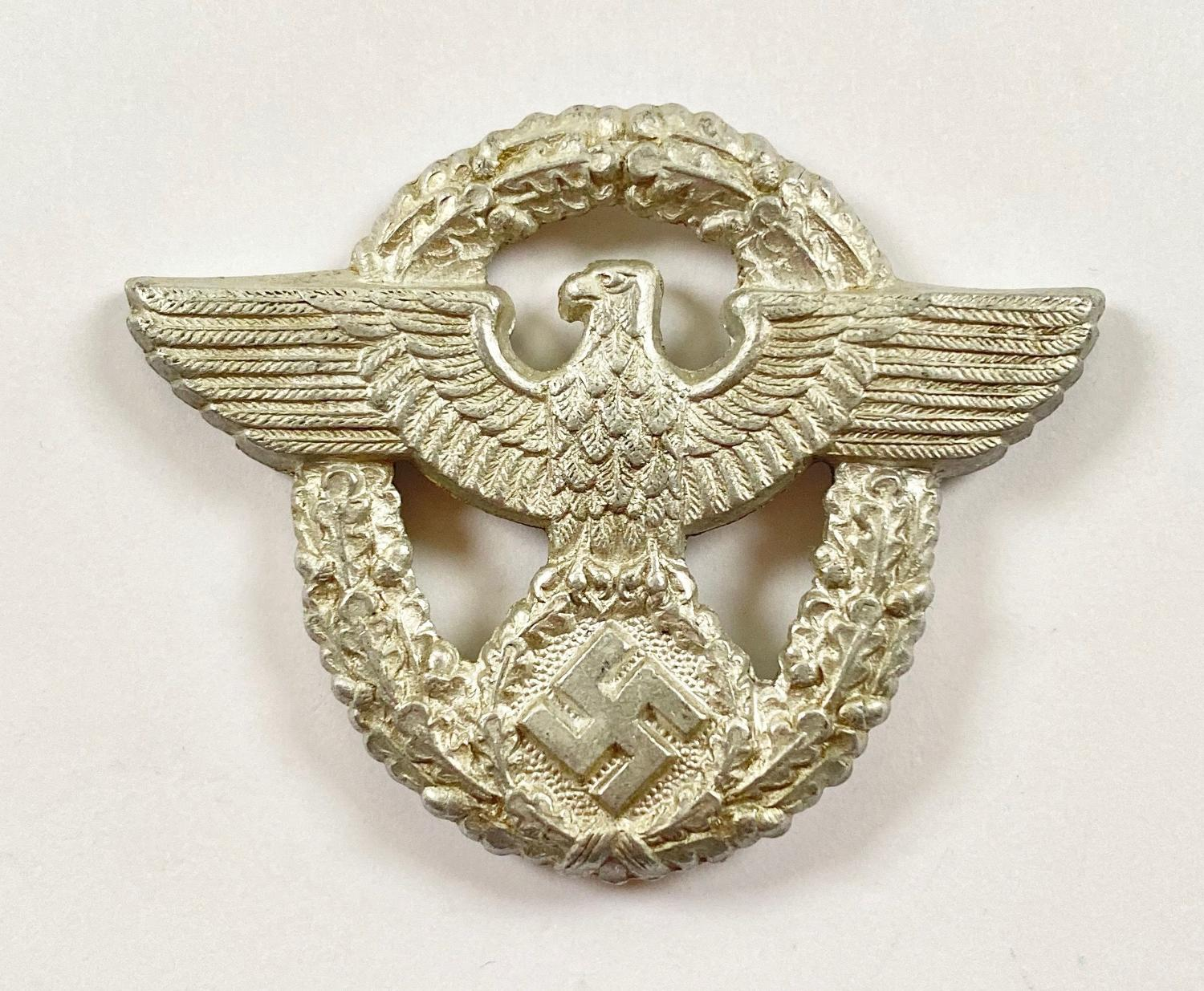 WW2 German Police Alloy Cap Badge.