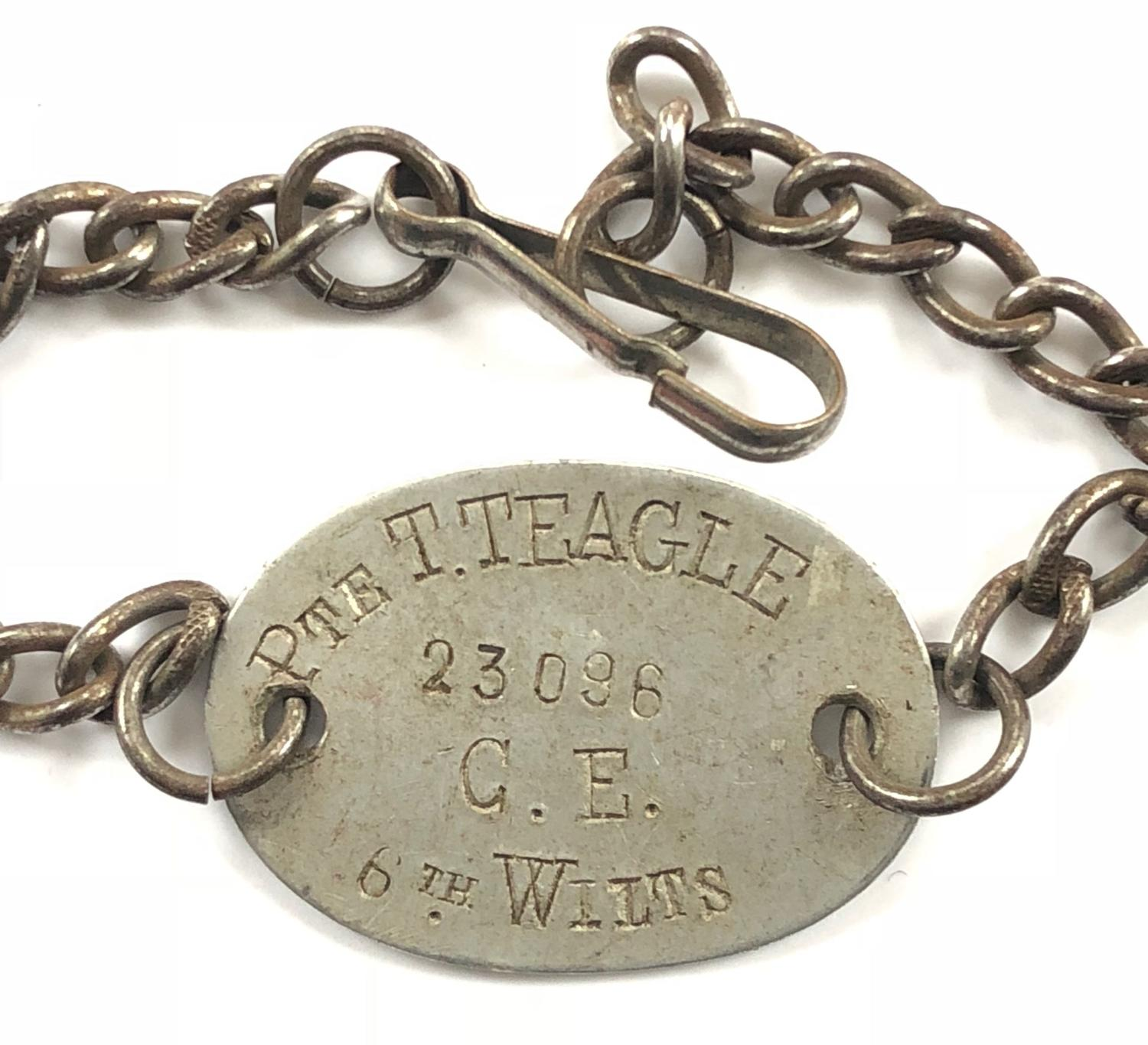WW1 6th BN Wiltshire Regiment Personal ID Bracelet.
