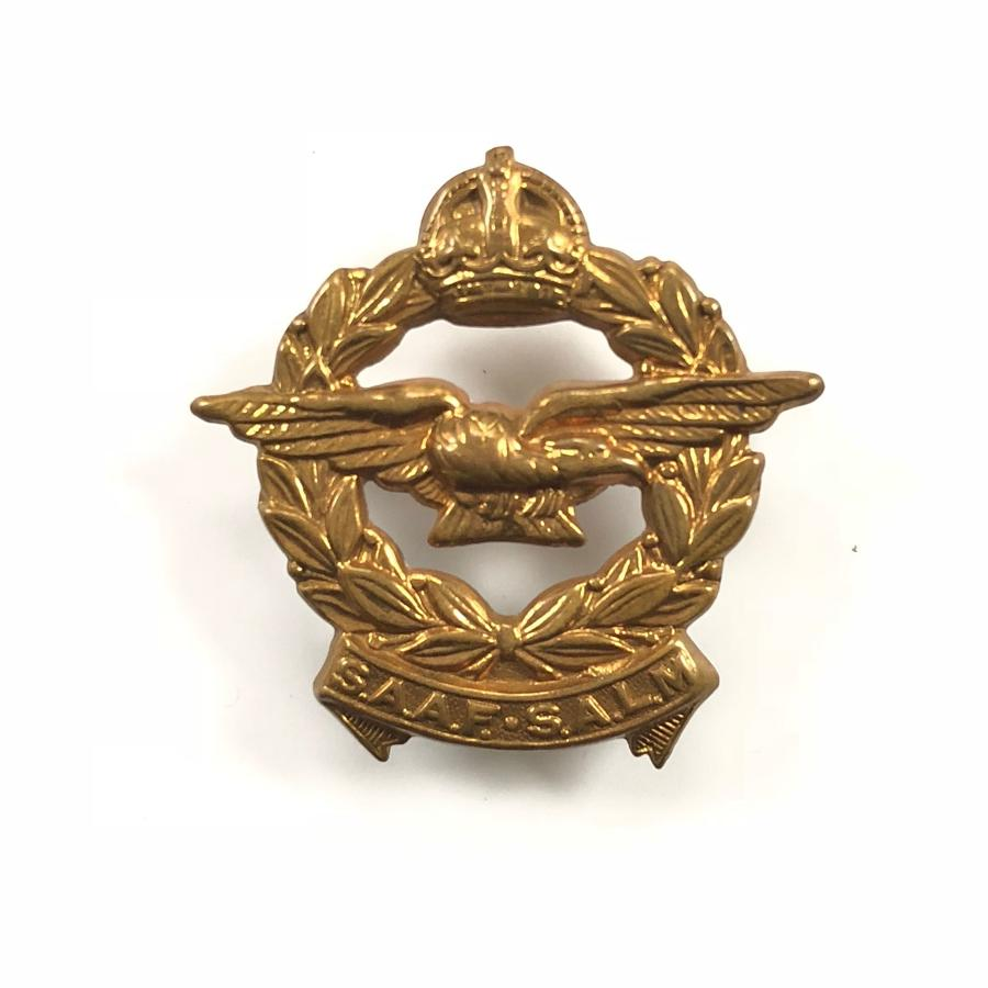 WW2 South African Air Force Brass Cap Badge.