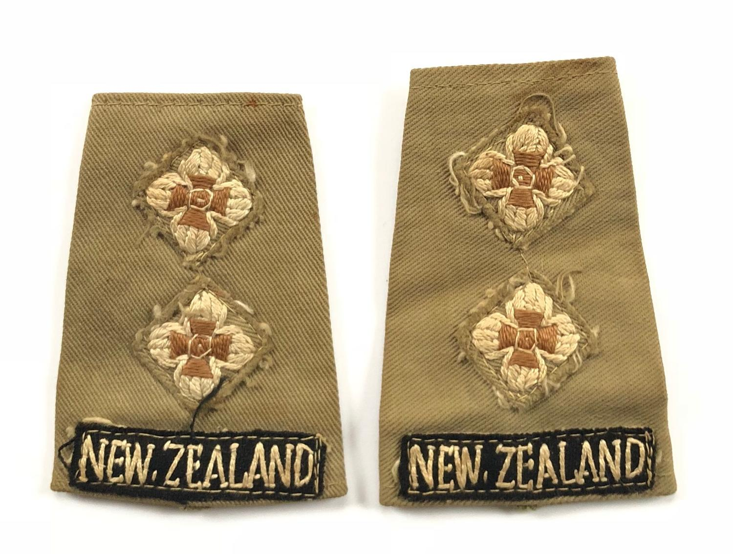 WW2 New Zealand Officer's KD Slip on Rank Slides.