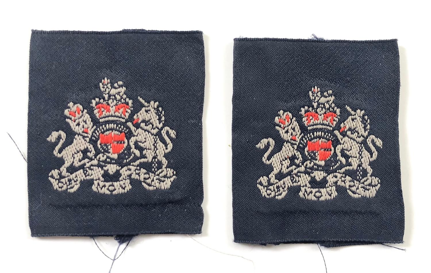 RAF Elizabeth II Period Warrant Officer Rank Slides Badges.