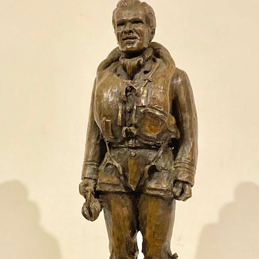 Cold Cast Bronze Statue of a WW2 Fighter Pilot.