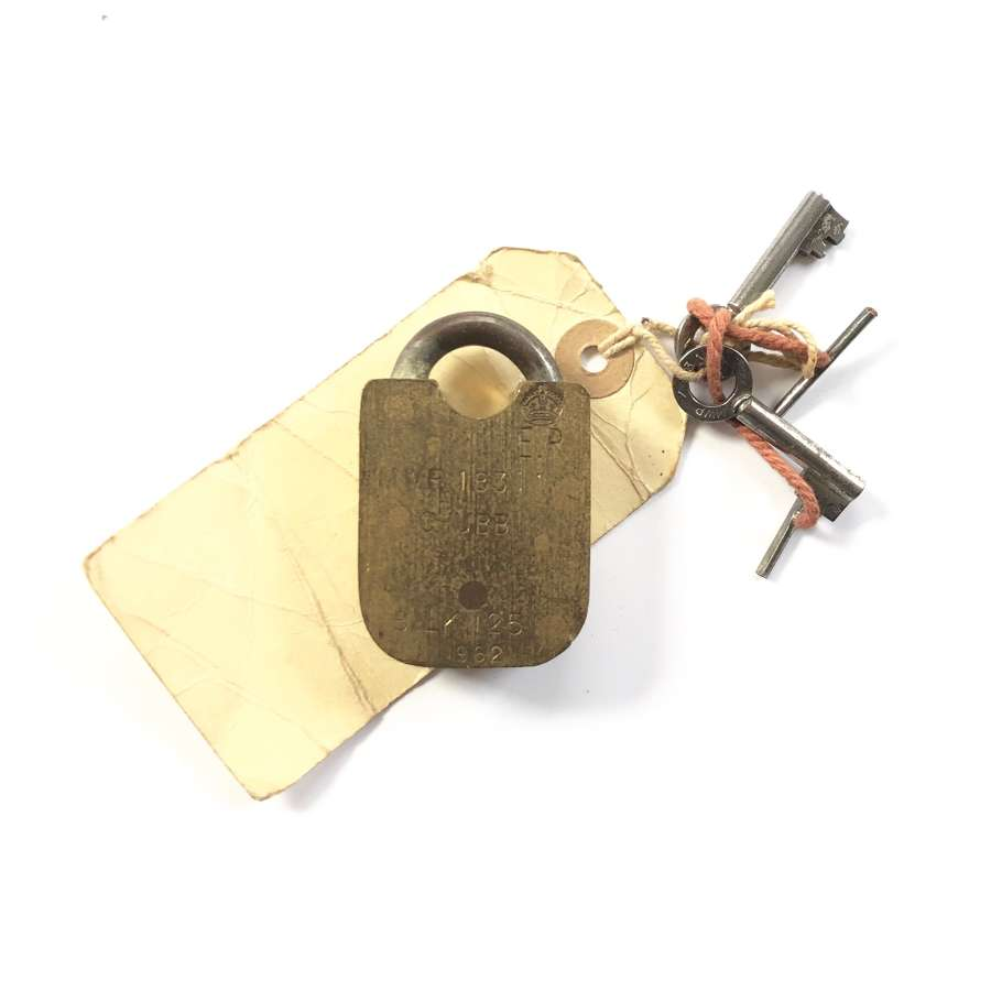 Cold War Period 1962 MOD issue Brass Padlock.
