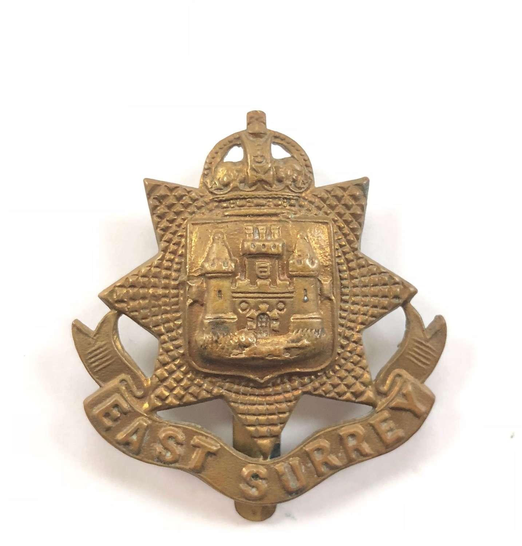 WW1 East Surrey All Brass Economy Cap Badge.