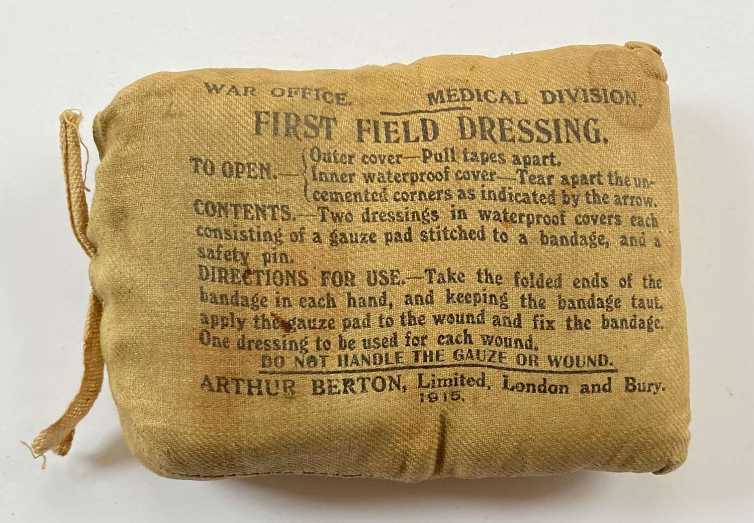 WW1 Battle of the Somme Period 1915 dated First Field Dressing.