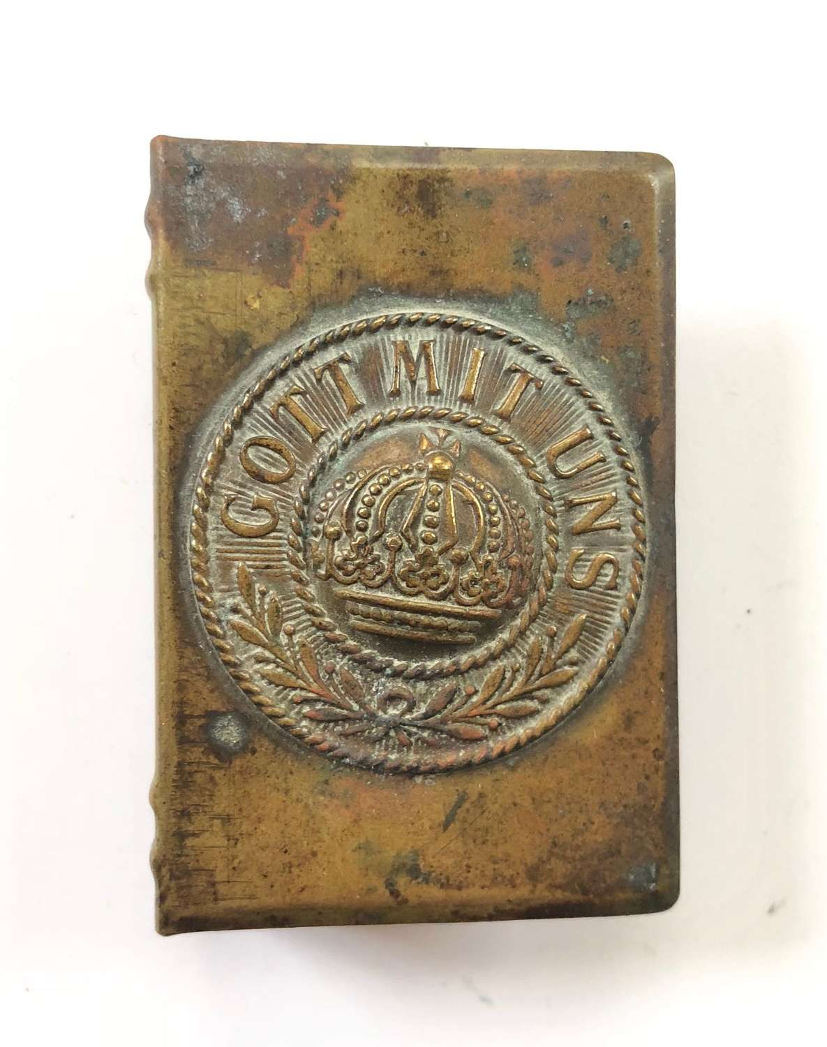 WW1 Trench Art German Buckle Matchbox Cover.