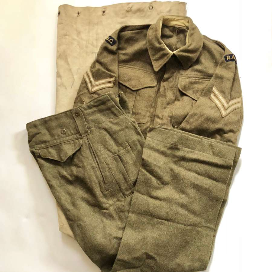 WW2 Attributed RASC Battledress Uniform & Kit Bag.