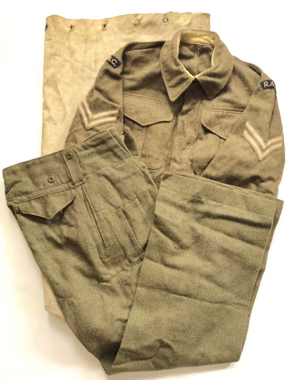 WW2 Attributed RASC Battledress Uniform & Kit Bag.