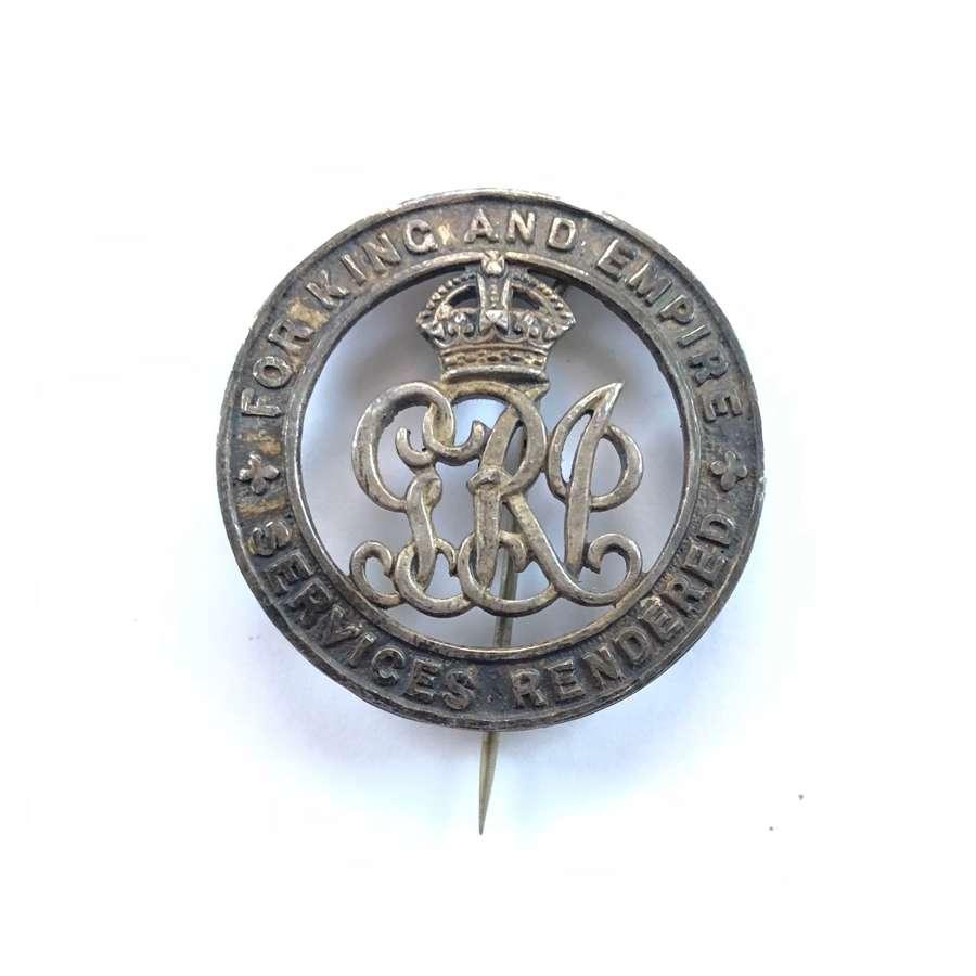 WW1 Royal Dublin Fusiliers Silver War Badge.