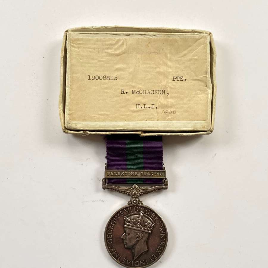 "Highland Light Infantry General Service Medal, Clasp ""Palestine 1945"