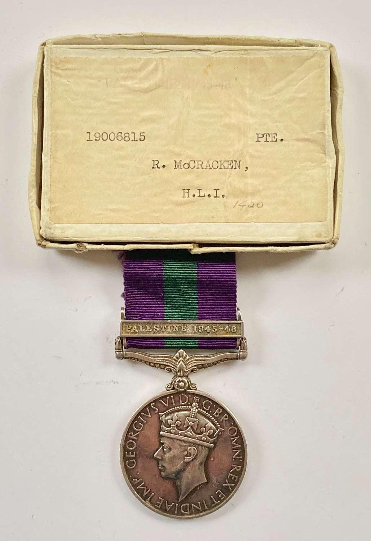 "Highland Light Infantry General Service Medal, Clasp ""Palestine 1945"