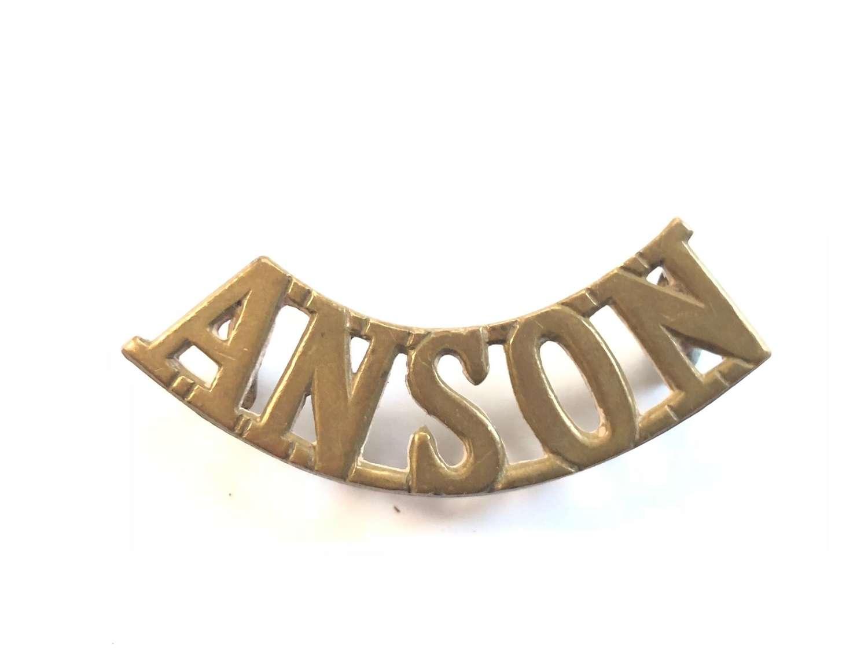 WW1 Royal Naval Division RND Anson Brass Shoulder Title.