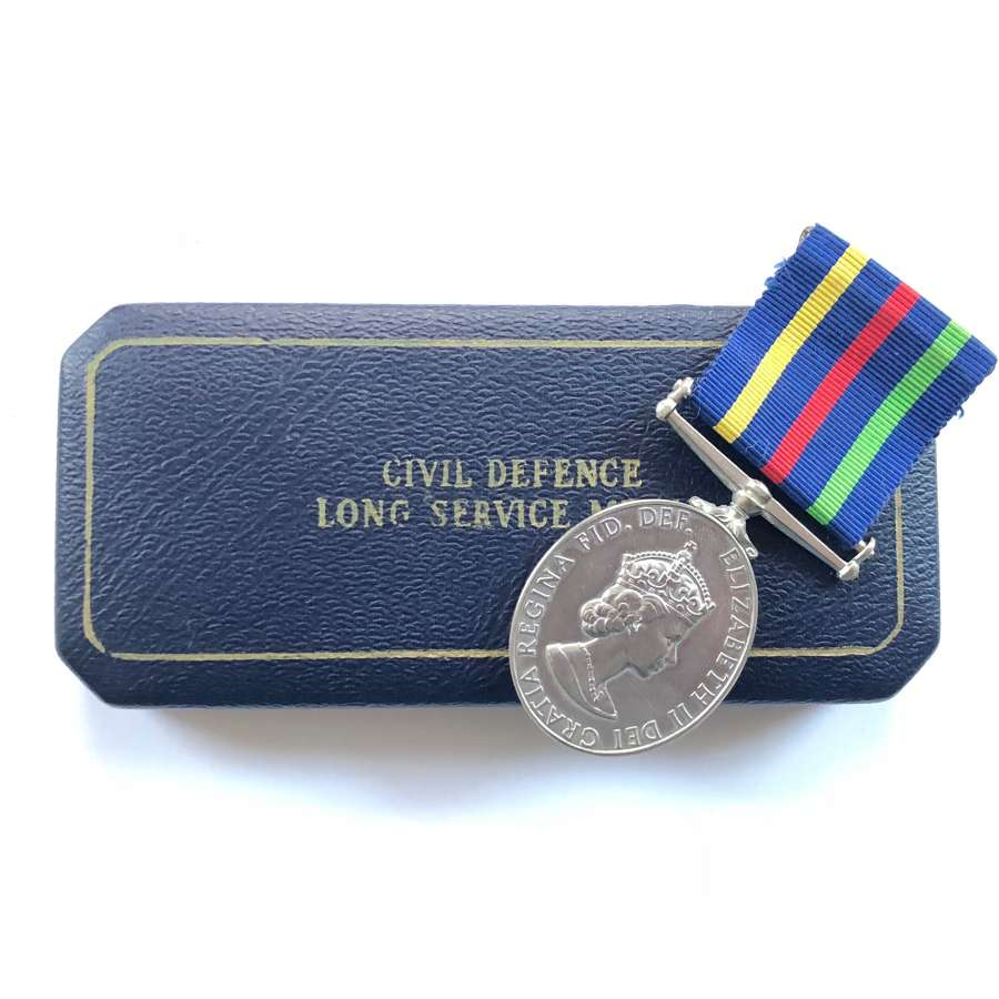 Civil Defence Long Service Medal and Case.
