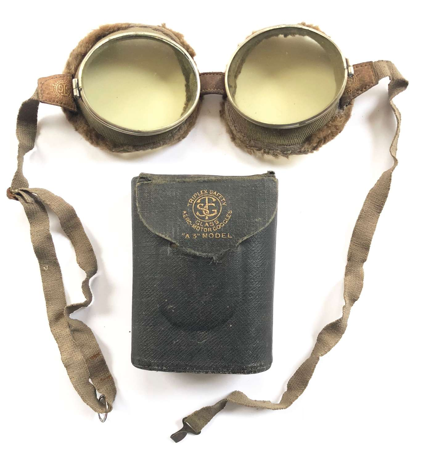 WW1 RFC RNAS RAF Pattern Triplex Flying Goggles & Box.