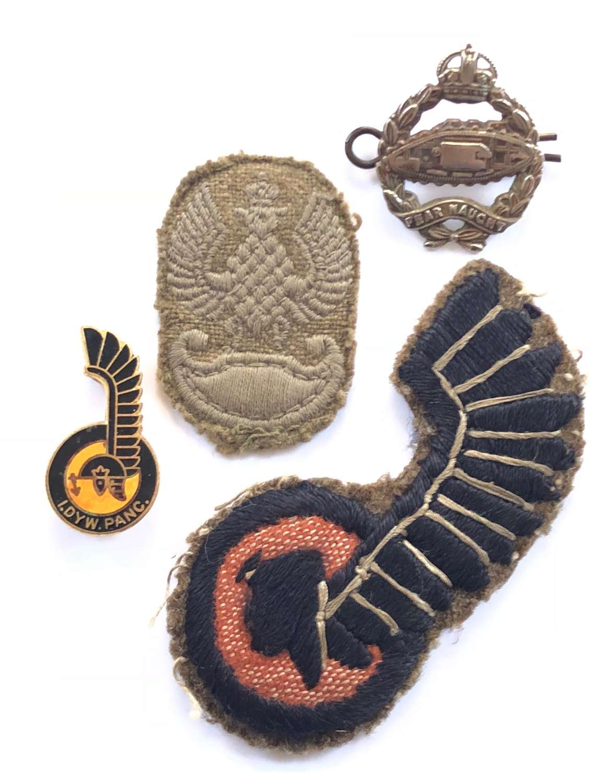 WW2 Polish 1st Armoured Division Cloth Badge etc.