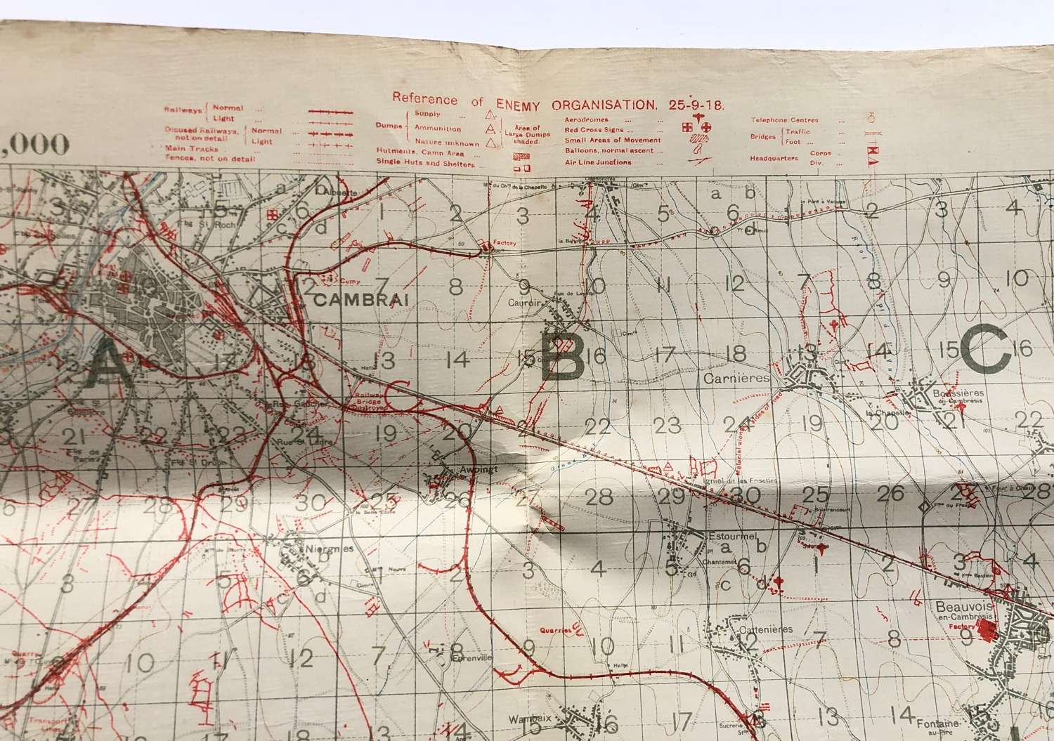 WW1 British Army September 1918 Trench Map. Sheet 57B
