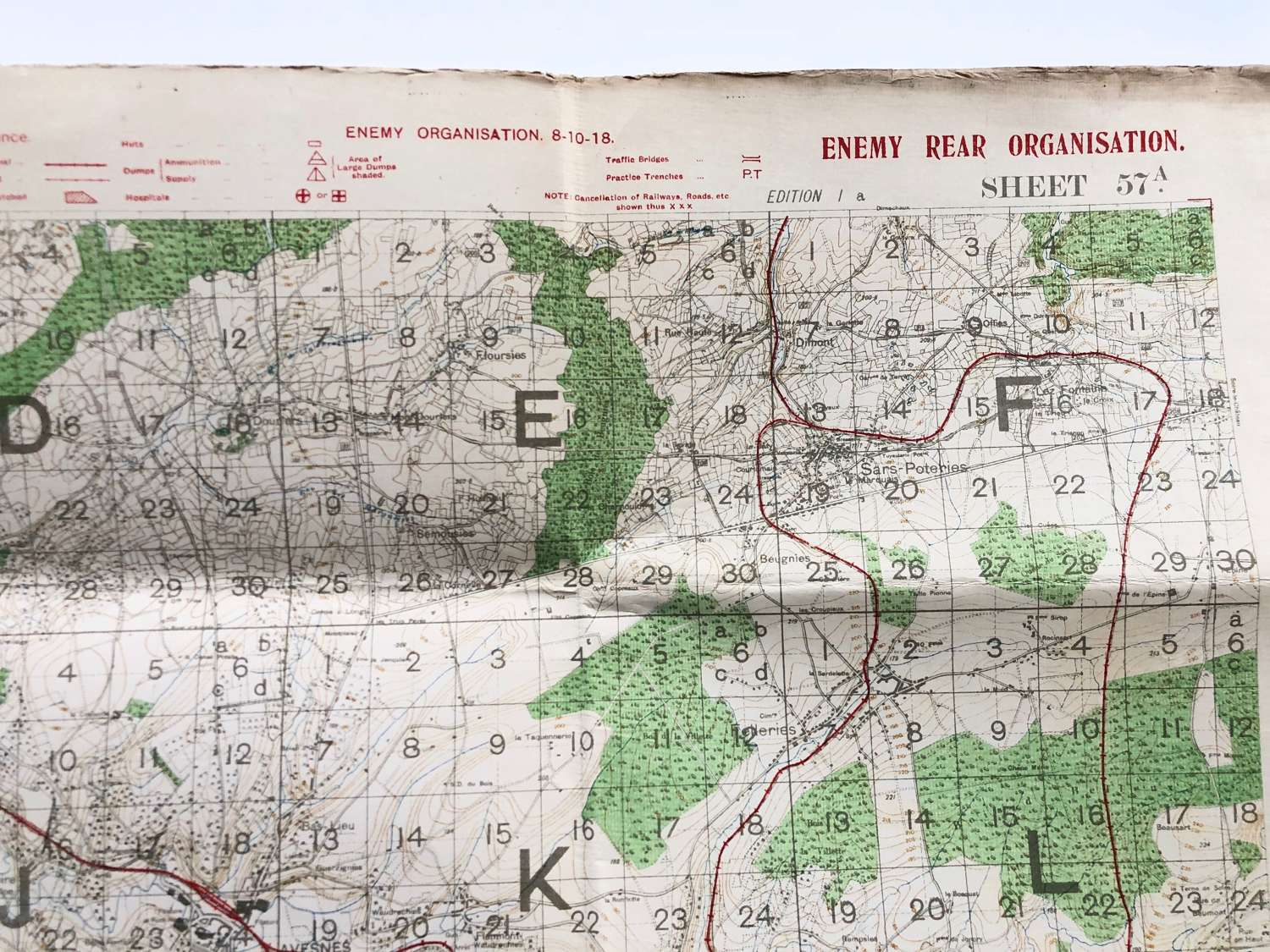 WW1 British Army October 1918 Trench Map. Sheet 57A