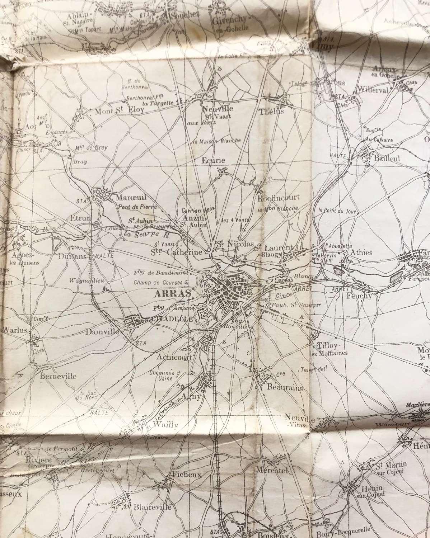 WW1 British Army March 1918 Map of Arras.