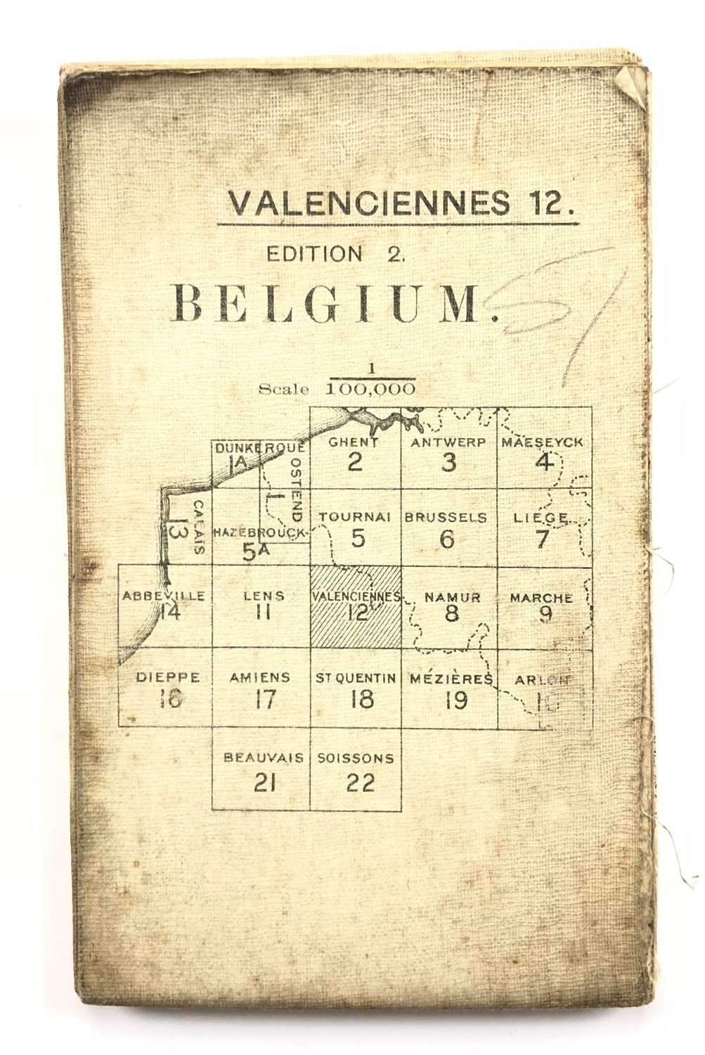 WW1 British Army 1916 Map. Belgium Valenciennes 12