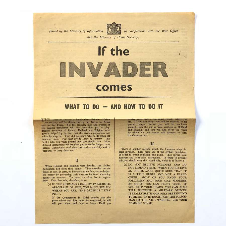 "WW2 ""If The Invader Comes"" Home Front Civil Defence Leaflet"