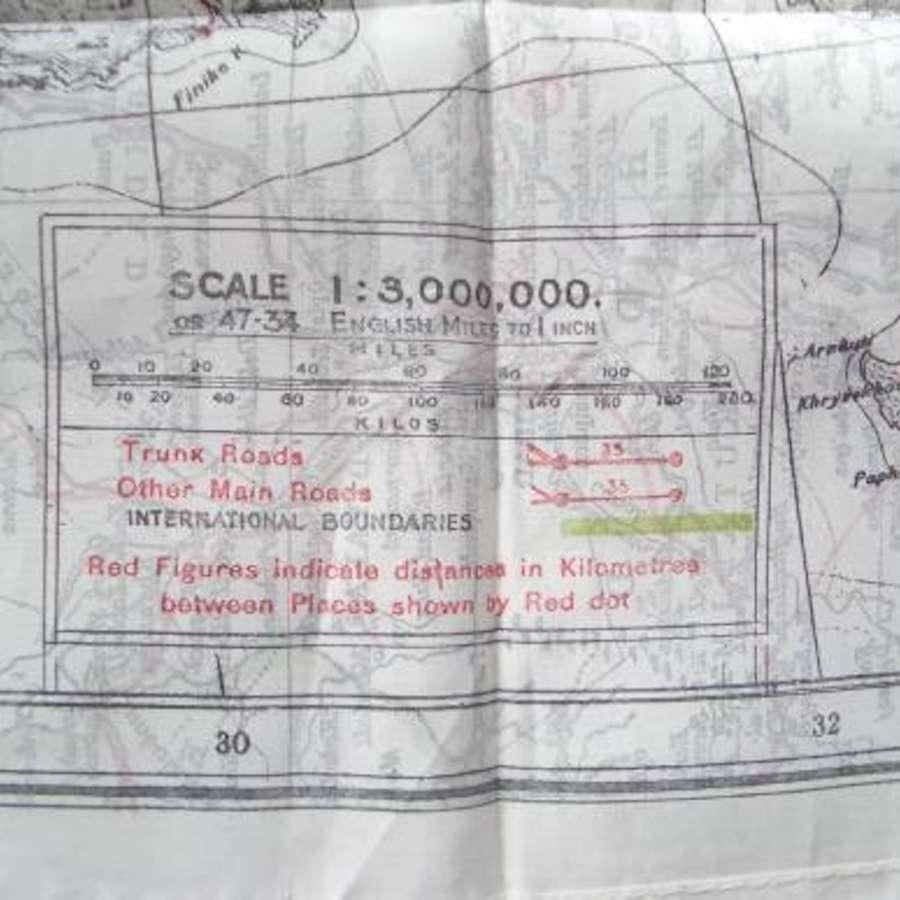 WW2 Period RAF Silk Escap Map T1/T3 PALESTINE CYPRUS etc