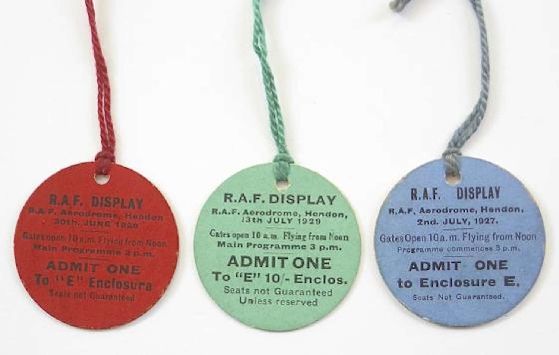RAF 1920s Hendon Flying Display Tickets.