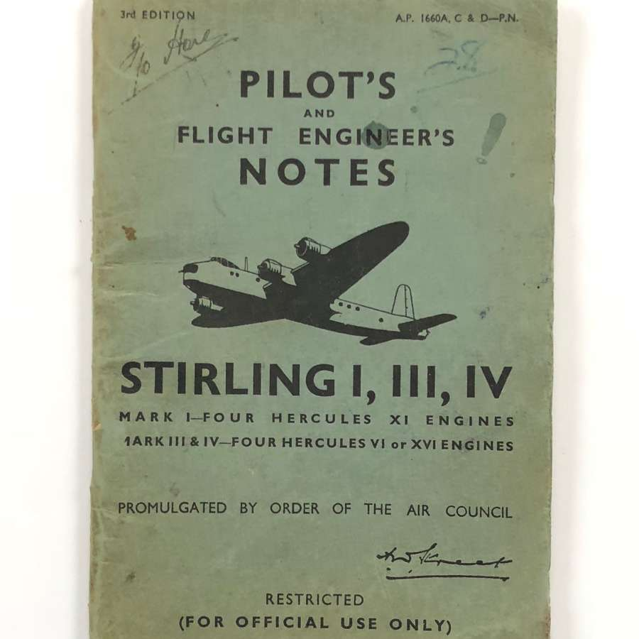 WW2 RAF Original Stirling Bomber Pilot Notes.