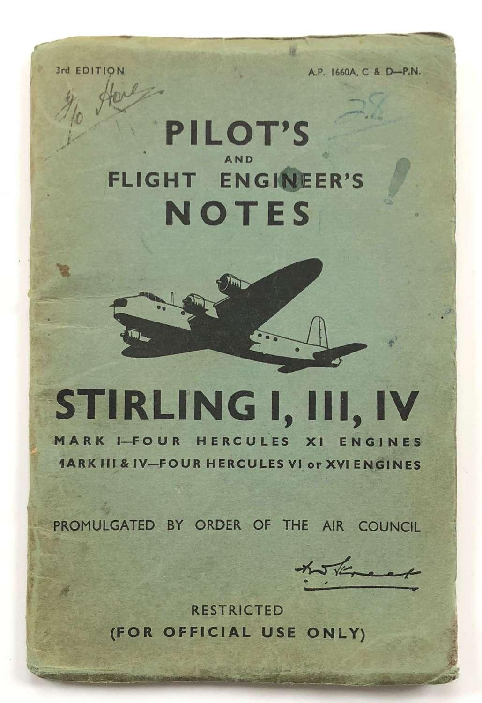 WW2 RAF Original Stirling Bomber Pilot Notes.