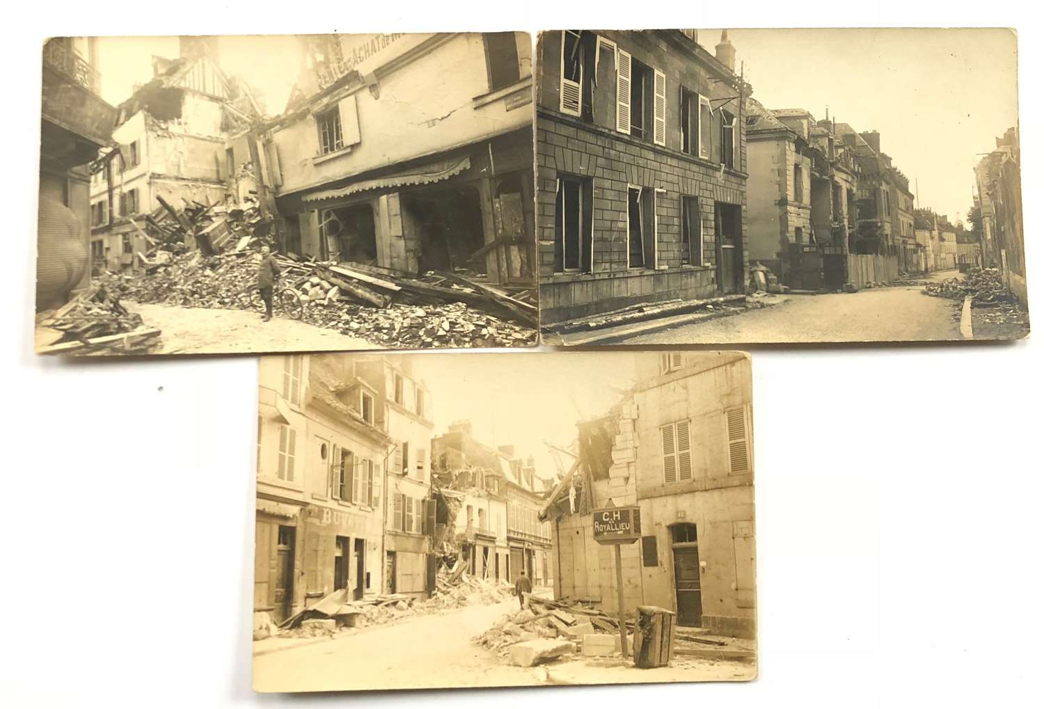 Three Original 1918 Photographic postcards of Compiegne France.