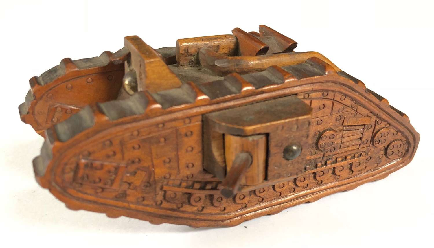 WW1 Wooden Trench Art Tank