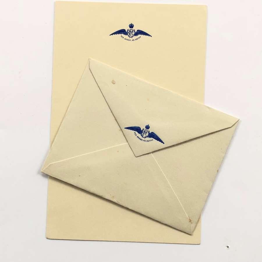 WW1 Original Royal Flying Corps RFC Embossed Writing Paper & Envelope.