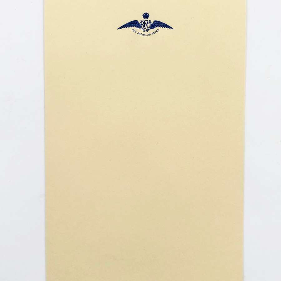 WW1 Original Royal Flying Corps RFC Embossed Writing Paper.