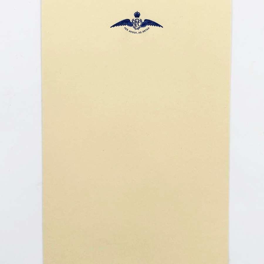 WW1 Original Royal Flying Corps RFC Embossed Writing Paper.